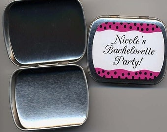 6 Bachelorette party favor mint tins unfilled with personalized stickers