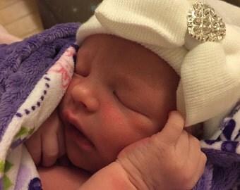 White Hospital Newborn Beanie with matching  Bow and added Sparkle!  Newborn Hat, Baby Girl Hospital Hat, Heart Rhinestone
