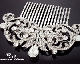Bridal hair accessories wedding hairpiece crystal wedding comb bridal hair comb vintage style Art Deco bridal comb  5167