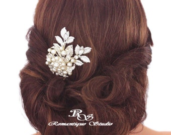 Pearl bridal hair comb with leaves wedding hair comb hairpiece rhinestone brooch hair comb pearl and leaves hairpiece hair accessory 5170