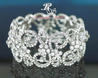 Rhinestone wedding bracelet vintage bridal bracelet crystal bracelet rhinestone bracelet wedding jewelry art deco bridal jewelry - B0120