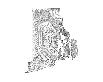 """Rhode Island State Map, Ink Illustration, 8""""x10"""" or 5""""x7"""" Print"""