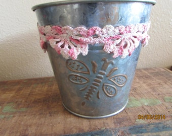 Tin Pail flower girl basket with vintage croched lace and butter fly on pail