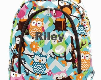 Personalized Backpack Monogrammed Bookbag Owl Chevron Aqua Blue Brown Pink Girls Large Canvas Kids Tote School Bag Embroidered Monogram Name