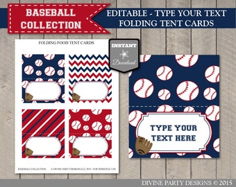 INSTANT DOWNLOAD Baseball Folding Food Tent / Place Cards / Editable Type your text / Printable DIY / Baseball Collection / Item #903