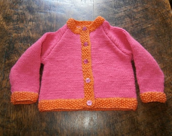 PRICE REDUCED Hand Knitted Bright Pink and Hot Orange Long Sleeved Cardigan for 6-12 month baby. Machine Washable