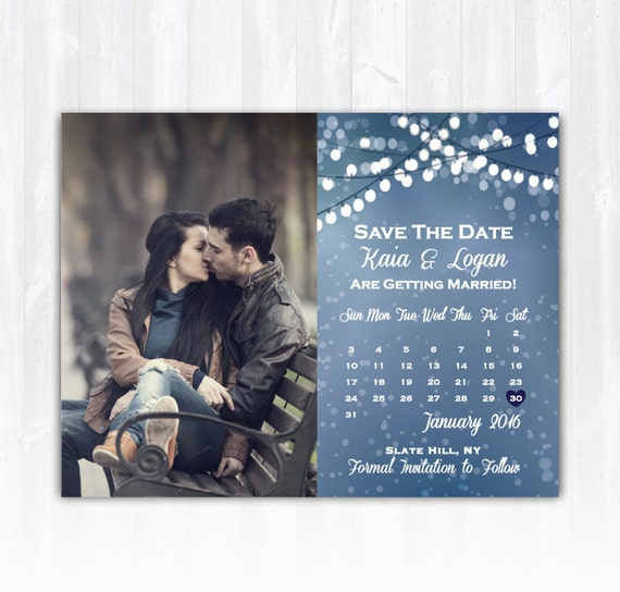 Winter Save The Date Magnet Or Card DIY PRINTABLE Digital File