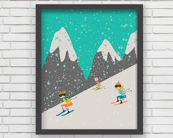 Home Wall Decor- I love Skiing! Art Print- 8x10, 11x14
