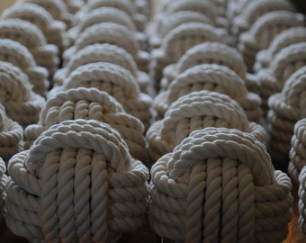 Wedding Table Number Knots - Nautical Decor - Nautical Wedding - Off White Knots - Cotton Knots - (this is per knot)