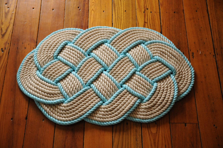 Cotton Rope Rug Khaki And Aqua Rope Rug Bath Mat