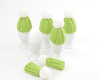 egg warmer greenery Easter egg cosies apple green with white  bobble knit decoration merino wool table decoration spring thank you gift