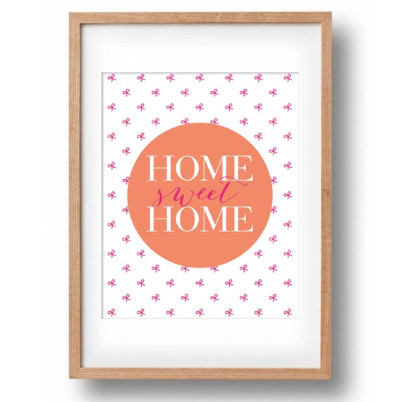 Home sweet home bow print printable wall decor for your home Home sweet home wall decor