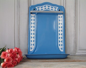 Antique french blue enamel utensil rack with white checkers. French vintage enamelware.