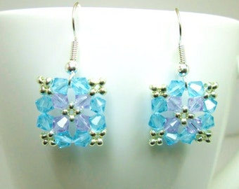 Violet and turquoise square beaded swarovski elements earrings, summer jewelry, mothers day, turquoise earrings, violet earrings,