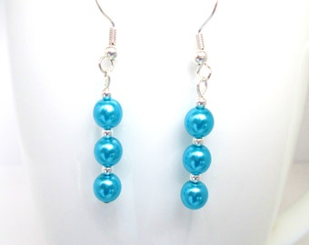 Turquoise pearl earrings, aqua jewelry, turquoise and silver, blue earrings