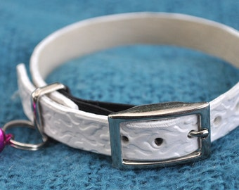 Ella Selection White Geometric Patterned Leather Cat Collar