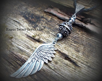 Angel wing bali style braided necklace