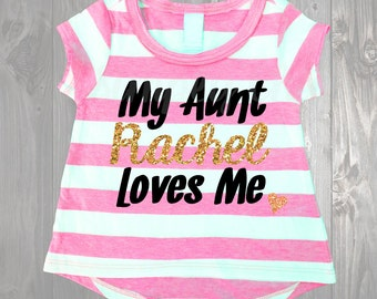My Aunt loves Me Custom Name Black Glitter and Gold Glitter Pink High Low Infant T-shirt Baby Girl