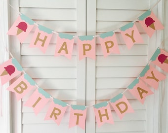 Mint and Pink Sparkle Ice Cream Cone Happy Birthday Banner