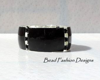 Black, Silver Plated, Black Crystals, Stretch Bracelet.