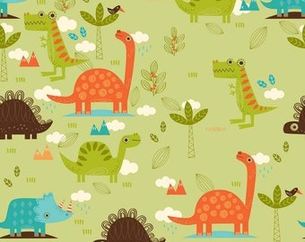 Last yard!  Riley Blake Fabric - Dinosaur Green C4160