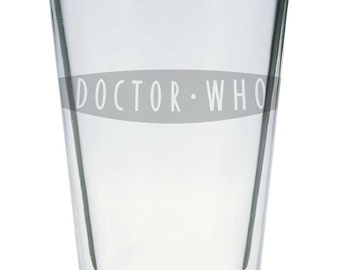 Single Etched Pint Glass Inspired by Doctor Who 2005 Logo