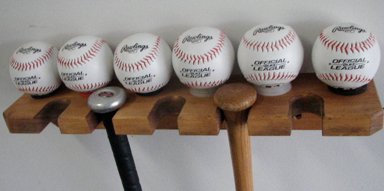 Baseball Bat Rack Holds 5 Bats And 6 Baseballs Oak Wood