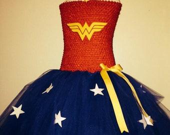 WonderWoman costume tutu dress with wrist cuffs and headband,4 piece set..LINED top
