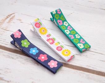 summer flower hair clips, set of three hair clips, Ribbon flower hair accessory, flower girls hair clips, uk seller