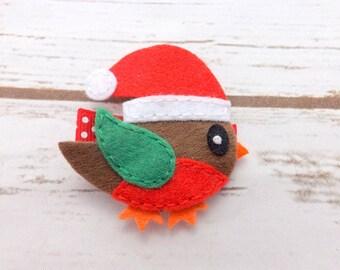 Robin hair clip, christmas hair clip, holiday hair accessory, winter hair, stocking filler, christmas bows, felt hair bows,UK seller