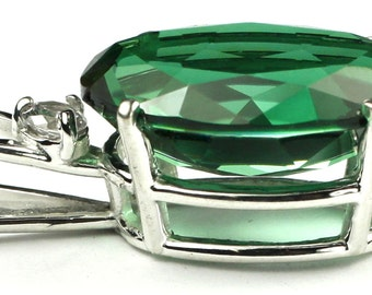 SP085, Huge 18x3mm, 15cts Created Emerald Spinel, 925 Sterling Silver Pendant