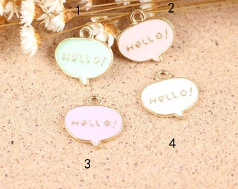 "10 pcs of antique gold ""hello"" sign badge charm pendants 18x18mm"