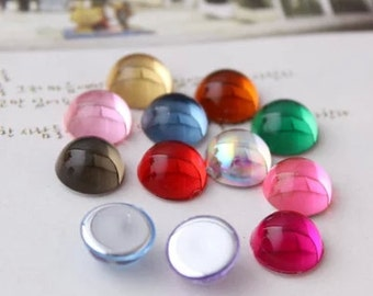 80pcs 10mm multicolour Cabochon Cover Cabs Charm Findings circular acrylic glass pendant