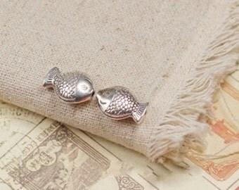 20 pcs antique silver fish charm pendant 15x11mm