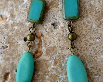 Natural Gemstone earrings. Turquoise and Czech glass. Free shipping in US.