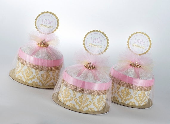 "Three  ""Little Princess"" Pink/Gold Damask Mini Diaper Cakes. Baby Shower Centerpieces."