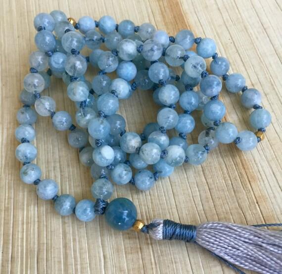 Aquamarine Mala Beads 18K Gold  Genuine Aquamarine Gemstone Blue Beryl 108 Beads Throat Chakra Yoga Mala Communication March Birthstone