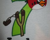 Personalized Angry Red Bird Themed Birthday Shirt, shown here as 7th birthday shirt