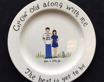 Custom Name Personalized Hand Painted Ceramic Wedding Plate or Anniversary Plate
