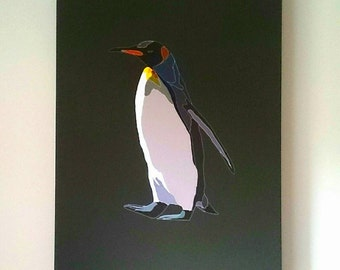 Graphic illustration of Penguin on grey canvas wall art