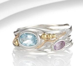 Blue topaz ring, amethyst ring, blue stone ring, purple stone ring, birthstone ring, multi stone ring, sterling silver ring