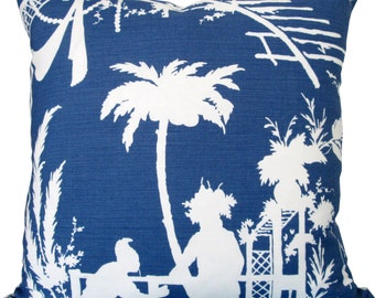 Designer Decorative Pillow Cover-Thibaut-South Sea-Navy Blue and White Silhouettes-Chinoiserie-Accent Pillow-Single Sided Or Double Sided