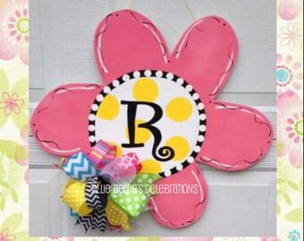 Spring Flower Monogram Door Sign Hanger