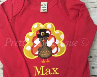 Thanksgiving Turkey personalized shirt or bodysuit  can customize for boys or girls