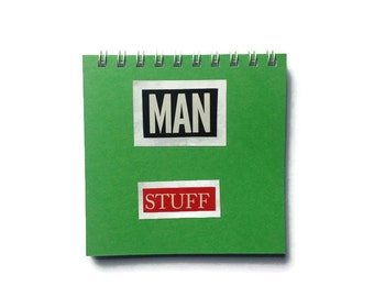 MAN STUFF Notebook in Green with plain pages comes with Free UK Postage Fab Gift For Him
