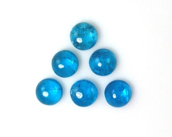 Neon Apatite Round 7mm Cabochon Top Excellent Neon Blue Color Great Luster and Brilliance (121)