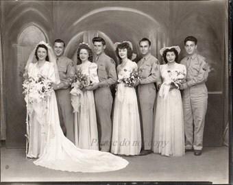 Vintage WWII Wedding Photo ~ original Art Deco era black and white photography