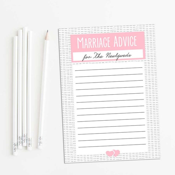 Printable Marriage Advice cards--pink--advice for the Newlyweds