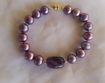 purple pearl and amethyst bracelet