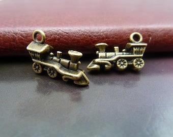 10 pcs 12x17mm Antique Bronze Vintage Double Sided Lovely Trains Locomotive Charms Pendants
